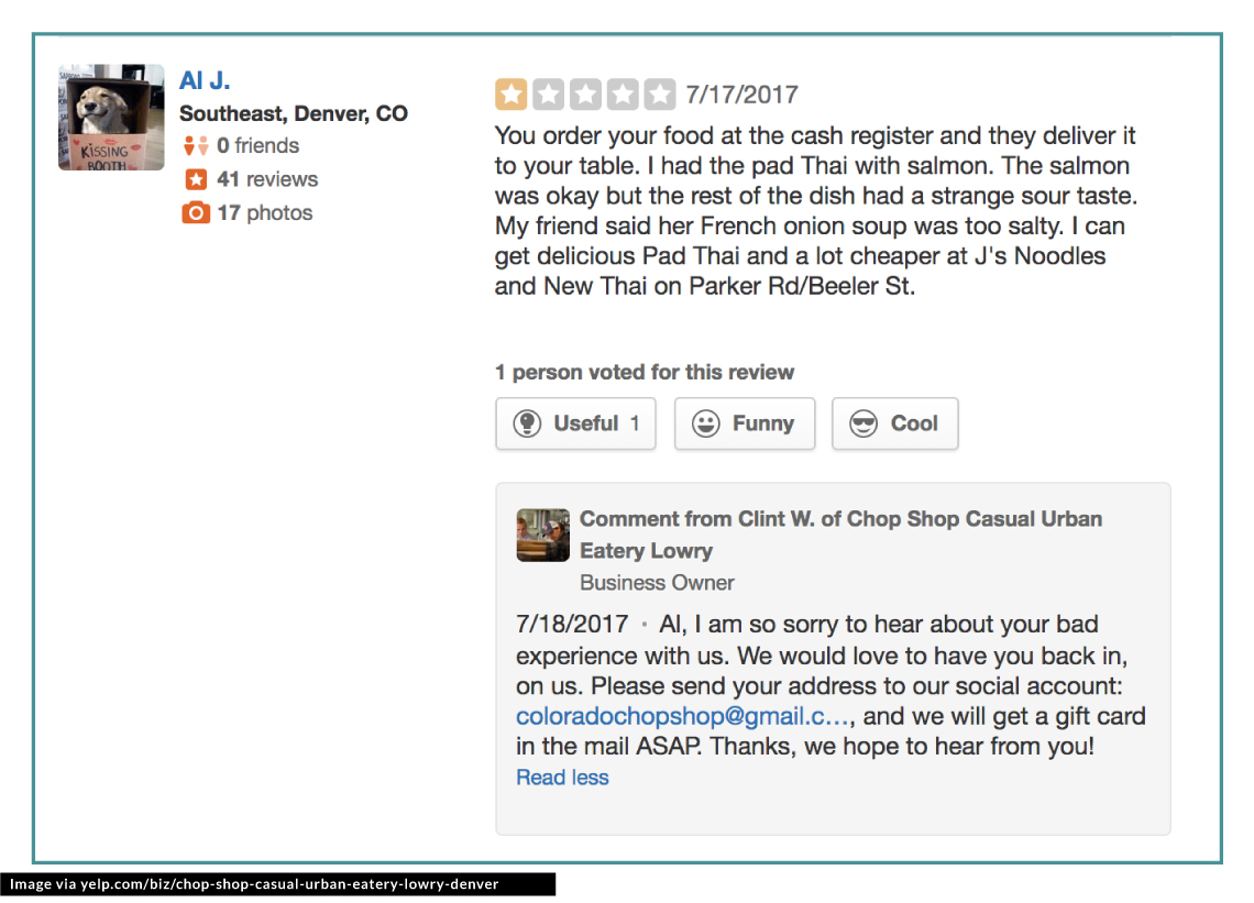 example on how to respond to bad meal review