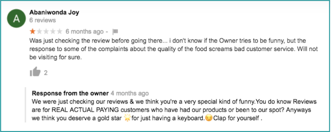 Example of mishandling negative reviews