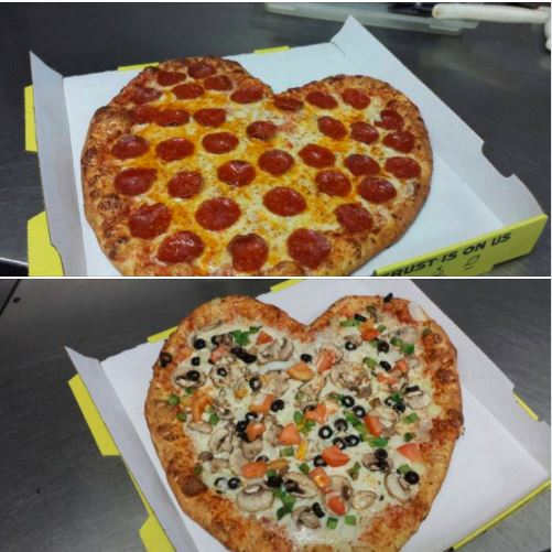 Heart shaped Valentine's Day pizza