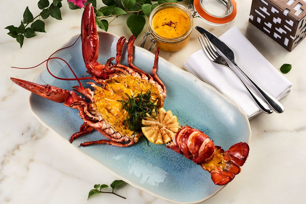 whole roasted lobster with saffron chef atlantis