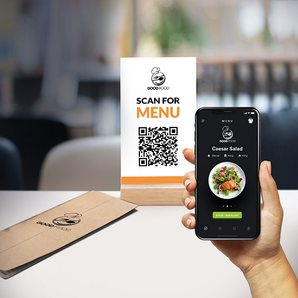 A customer scanning the QR code to explore the restaurant's digital menu