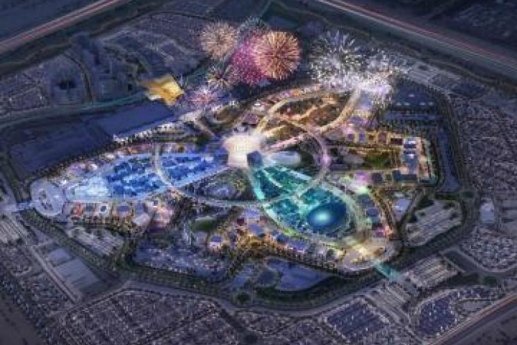 A picture taken from above to the area where expo 2020 is held in Dubai